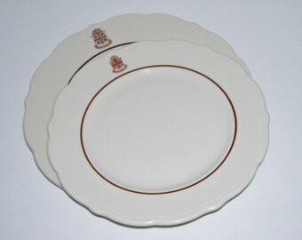 2 Vintage Brown University Plates with Seal Syracuse China Restaurant Ware