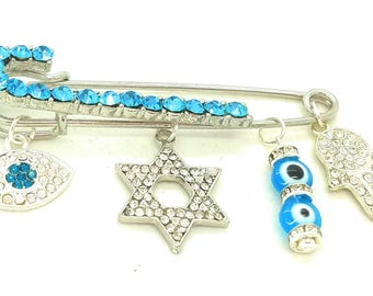 blue Stroller pin, blue bedazzled pin, Evil eye pin, hamsa pin, baby shower gift, jewish baby gift, jewish baby brooch, evil eye safety pin