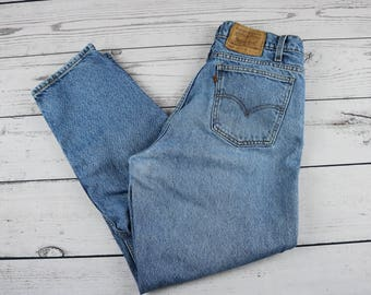 Vintage Men's Orange Tab 550 Levi's Jeans- Relaxed Fit- Tapered Leg- 38 x 30