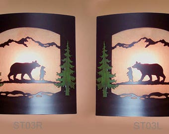 Pair of 2 Wall Sconce Rustic Bears Lights, Cabin Decor Lamp Hand Painted Left & Right Facing