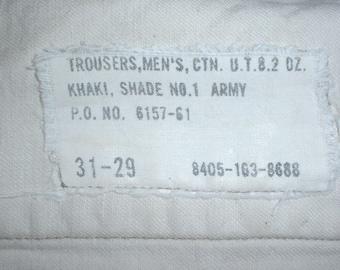 US Army khaki cotton service trousers 1961, 31 X 29 khaki shade 1