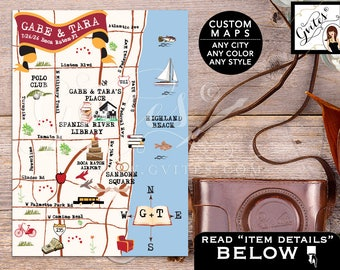 Library Theme Wedding Map - Custom maps, Boca Raton, Florida Save The Date Map, Wedding Weekend, Destination Map Wedding, Directions 5x7
