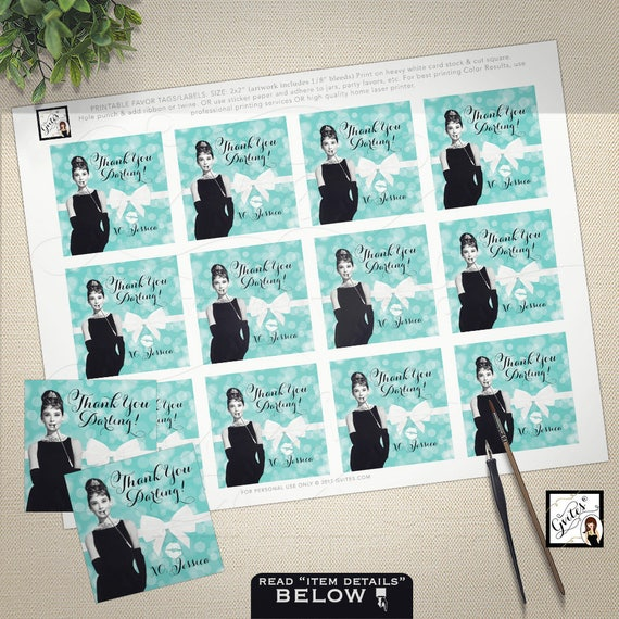 "Audrey Hepburn themed party supplies, tags, stickers, party favors breakfast at tiffany's bridal blue favor thank you tags 2x2"" 12/Per Sheet"