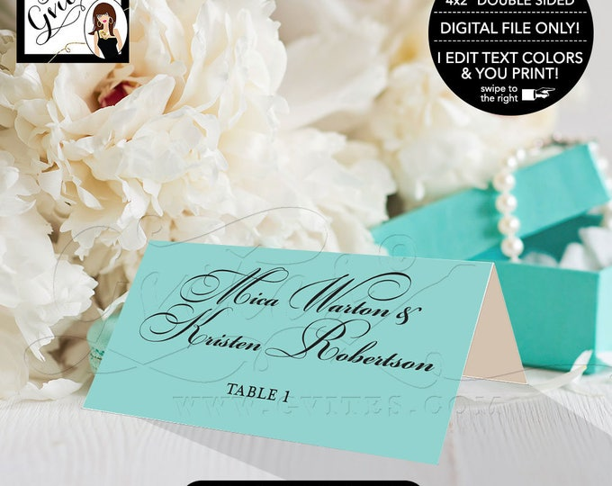 Double sided place cards, digital tent cards, guest cards, wedding place cards, escort cards, blue themed food cards, printable 4x2""