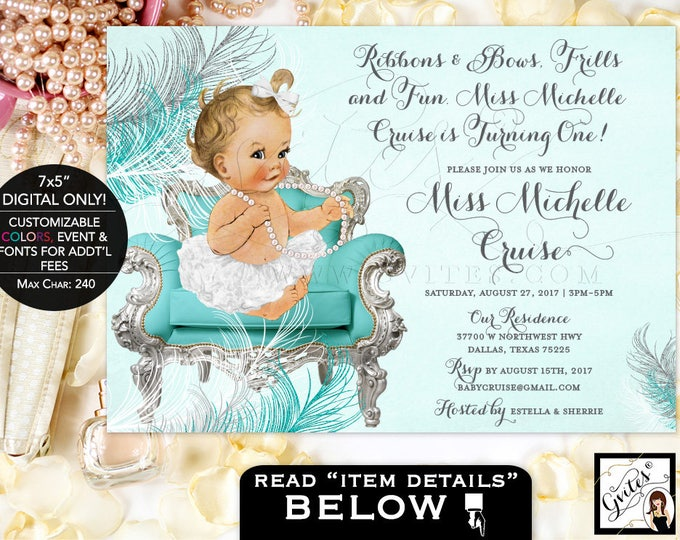 Turquoise and silver birthday invitation, first birthday, ribbons bows frills and fun, turquoise white and silver, baby girl, vintage, 7x5