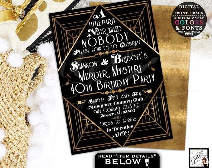 Murder Mystery 40th Birthday Party, Great Gatsby themed party invitations, 1920s black and gold, 5x7 double sided.