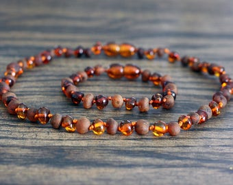 Raw/polished baltic amber baby teething necklace and bracelet/anklet set. Baby shower gift.