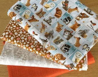 WOODLAND FRIENDS fabric bundle E 100% cotton Fat Quarters by Quilting Treasures