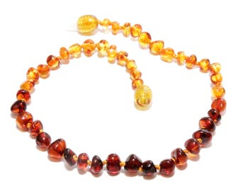 Genuine Baltic Amber Beads Adult Anklet Rainbow 25 - 27 cm Authentic