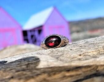 Antique Engagement Ring Garnet Unique Engagement Ring Vintage Engagement Ring Victorian Engagement Ring 16k Yellow Rose Gold