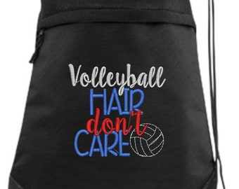 Volleyball Drawstring Bag/ Embroidered Volleyball Bag/ Volleyball Hair Don't Care/ Volleyball Cinch Drawstring Bag/ Volleyball String Bag