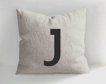 Letter J pillow - Name Initial Pillow Cover - Alphabet Pillow Cover - Cushion  - Linen Pillow - Linen cushions - Letter Pillows
