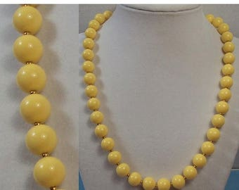 SALE Pastel Yellow Round Beaded Necklace