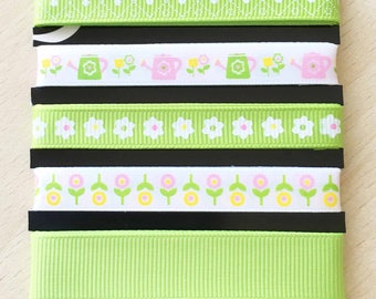 "set of 5 ""green meadow"" satin and grosgrain ribbons"