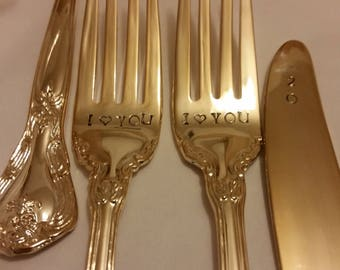 "3pc Gold New Vintage wedding forks +1 Knife gold flatware 24K Gold plated Hand stamped Wonky I ""heart"" YOU gold forks +201? knife real photo"