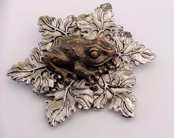 Sylvia Dahl Frog on Leaf Nieman Marcus 1980