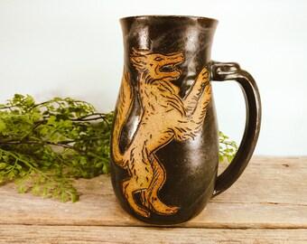 Wolf Stein 28 oz - Craft Beer Stein - Large Mug - Gift for Him - Norse - Big Mug - Large Mug for Coffee - Wolf Mug - Mesiree Ceramics
