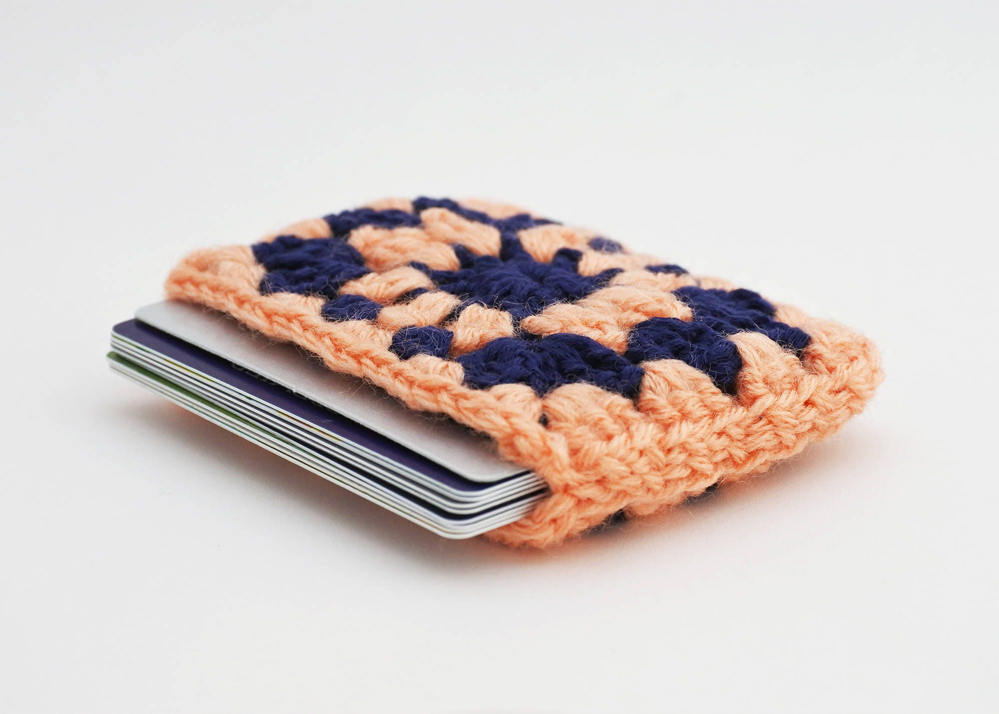 credit card holder peach and purple business card case vegan