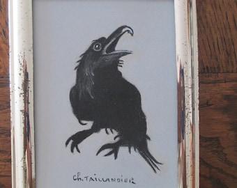 The Black Crow painting animal painting wall bird