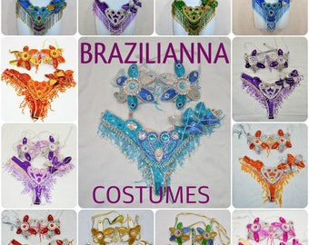 Brazilian Belly dance carnival SAMBA Bikini costume 11 Colors Waistband BRA /Cabaret/Show girl/ feathers/CUSTOM made