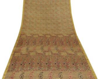Indian Vintage Art Decor Fabric Silk Blend Saree Brown Floral Printed Sari Craft Fabric Used Saree 5 YD PS50392