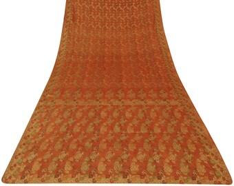 Indian Vintage Orange Recycled Fabric 100% Pure Silk Saree Woven Antique Sari Craft Fabric Used Saree 5 Yd PSW5397