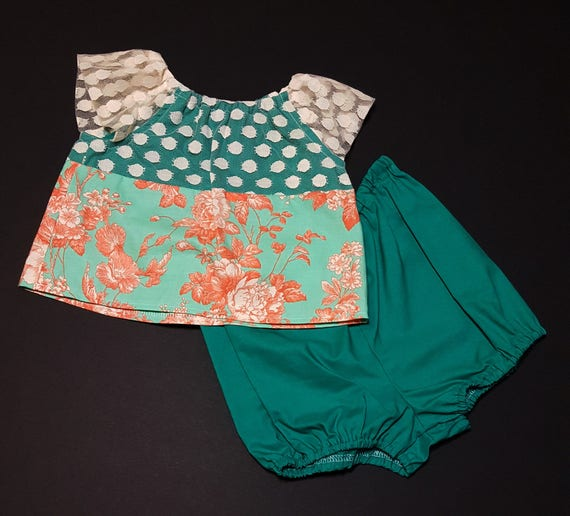 Vintage Lace Teal Top and Short Set