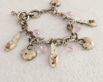 Vintage Cookie Lee Enamel Hearts and Shoes Charm Bracelet with Glass Beads
