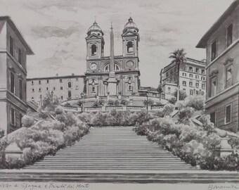 vintage collectible, 80s art etching, original art etching, black white etching, Bonamici etching, Piazza Trirista Monti, Rome Italy town