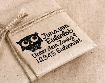 Address-stamp small with owl up to 4 lines
