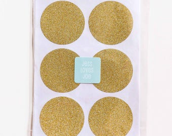 24 Gold Glitter Circle Stickers