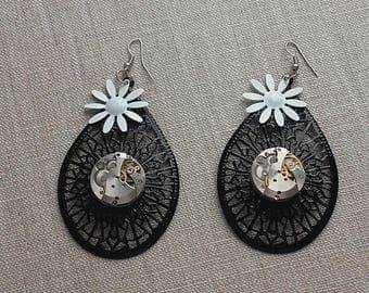 Beautiful vintage watch movement and aluminum spring earrings