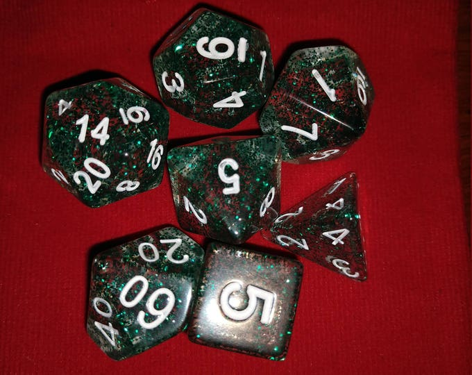 Green Glitter - 7 Die Polyhedral Set with Pouch