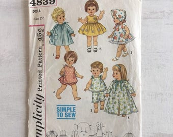 "Vintage Doll Clothes Sewing Pattern for 15"" Doll"