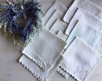 Vintage Set of 10 Dainty White Linen Tea Napkins