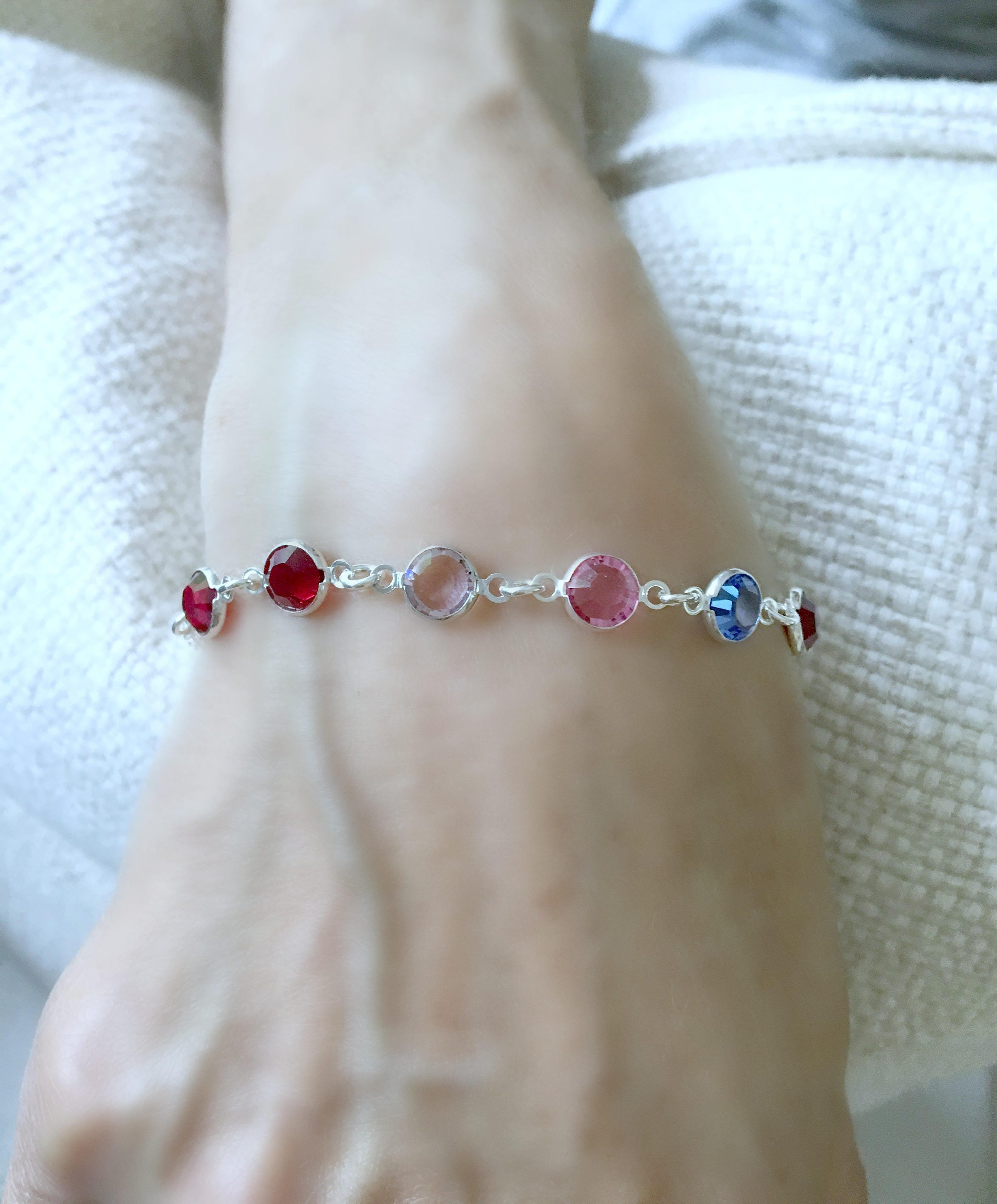 ankle gold beaded simulatedruby ruby birthstone in silver over bracelet sterling anklet july simulated onesize