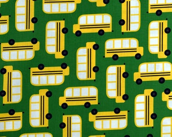 Bus Fabric Back to School  Fabric Green From Robert Kaufman 100% Cotton