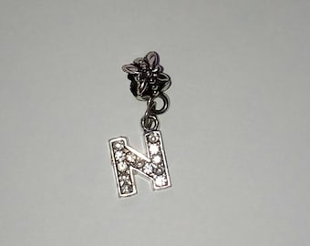 Pendant 1 X letter N silver and rhinestone