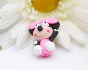 X 1 character Pearl black-white-pink fimo 25mm