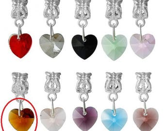 X 1 Brown Crystal heart charm pendant and the bail