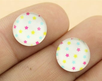 X 2 stars color white 12mm Cabochons