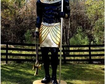 Ancient Egyptian Rams Head Sculpture Statue 8 Foot Tall Gold Hieroglyphics