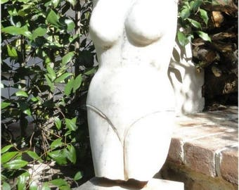 Solid Marble Bust Statue of Woman Figure in Vintage Bathing Suit Antique Replica