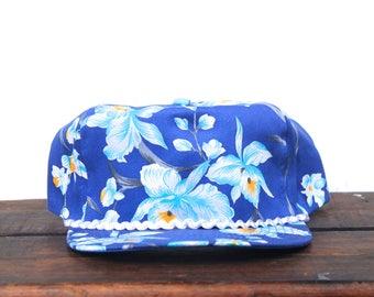 Vintage Blank Blue Hawaiian Tropical Floral Beach Snapback Trucker Hat Baseball Cap