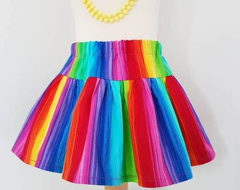 Rainbow skirt, twirl skirt, rainbow baby, unicorn party,  kids clothing, uk