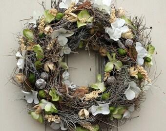 Door wreath spring hydrangea Dekokranz wall wreath wreath silk flowers handmade 40 cm