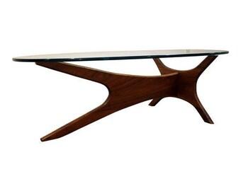 Mid-Century Coffee Table Danish Modern Adrian Pearsall Walnut Glass Top Jacks Coffee Table