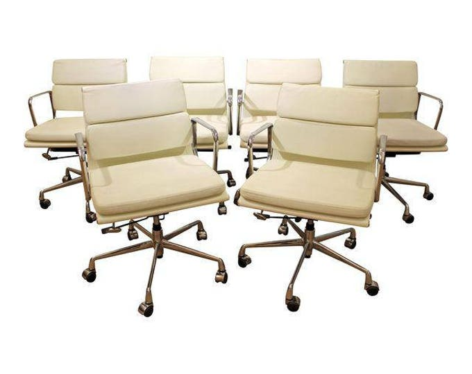 Set of 6 Mid-Century Danish Modern Eames Style Chrome Office/Conference Chairs