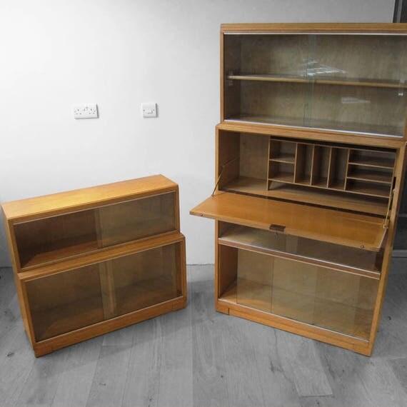 Stacking Bureau Oak Book Shelf Cupboard Mid Century MINTY Cabinet Modernist 1950s Glazed Display