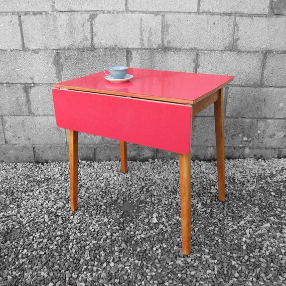Red Formica Kitchen Dining Table Mid Century Kitsch 1960s